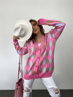 Pembe  V-Neck Plaid Oversize Hırka